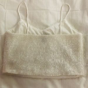 Forever 21 Tops - Sexy shiny white crop top